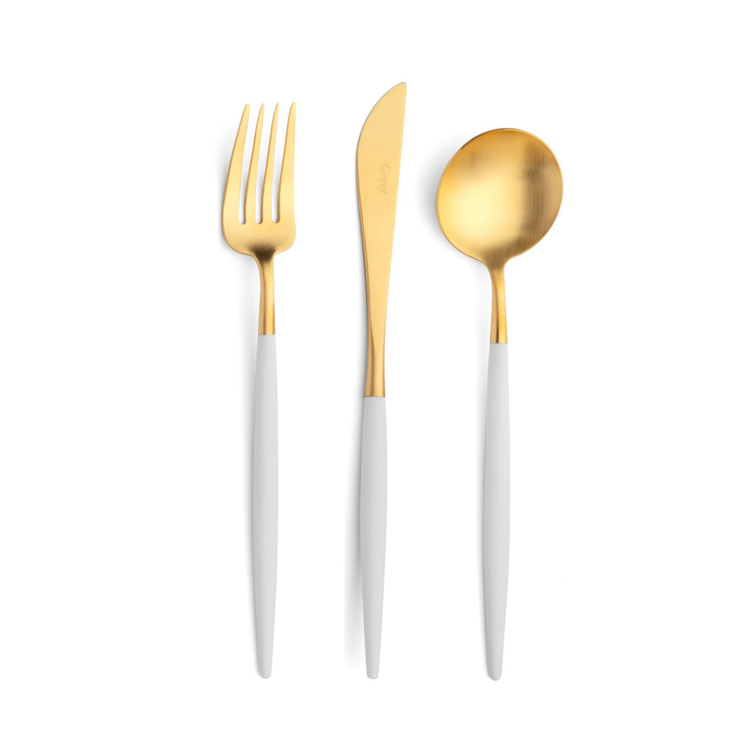 Cutipol Cutlery Goa white gold with dinner fork, dinner knife, table spoon
