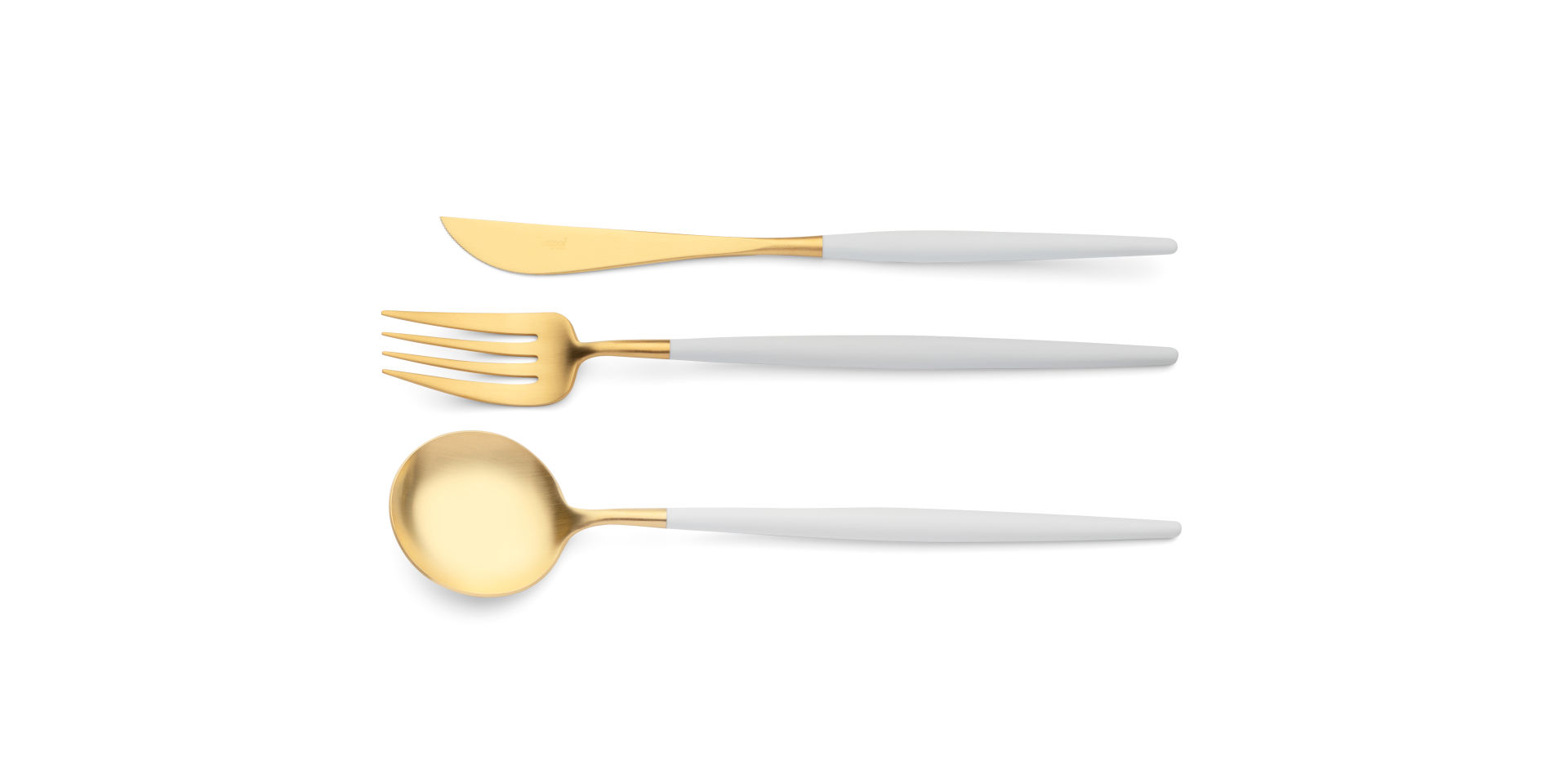 Serving spoon, serving fork and serving knife Cutipol Goa white gold