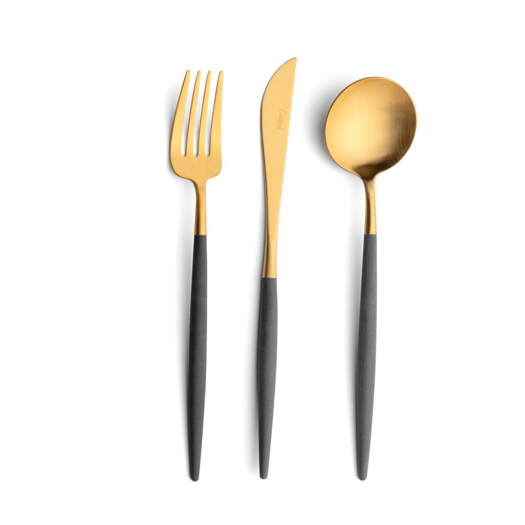Cutipol Cutlery Goa grey gold with dinner fork, dinner knife, table spoon