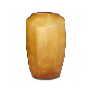 Cubistic tall vase clear/gold