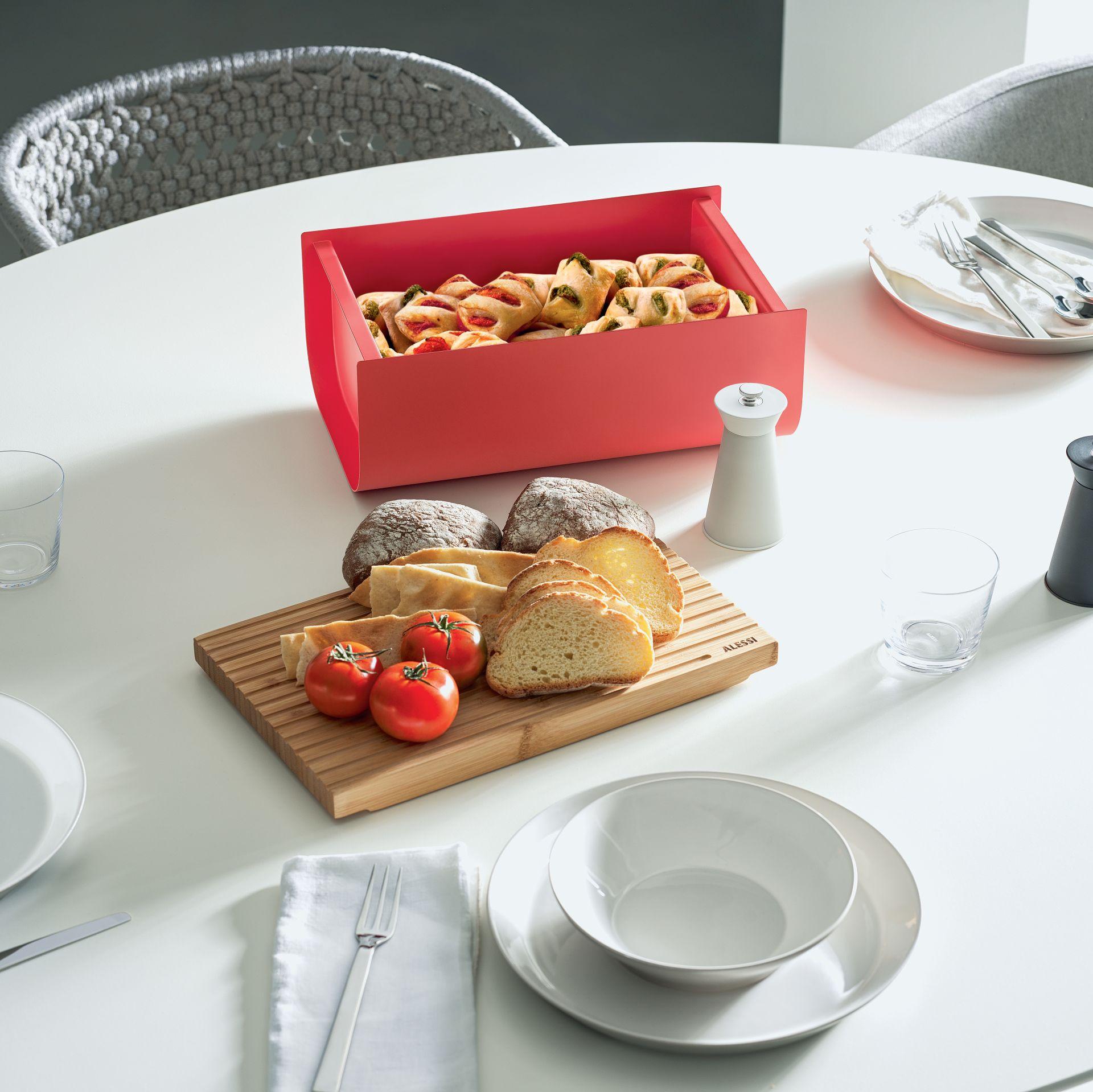 Alessi Mattina Bread Box Red Cutipol Official Store