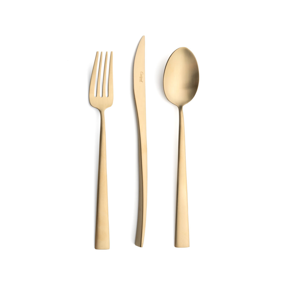 Cutipol Cutlery Duna Matte Champagne with dinner fork, dinner knife, table spoon