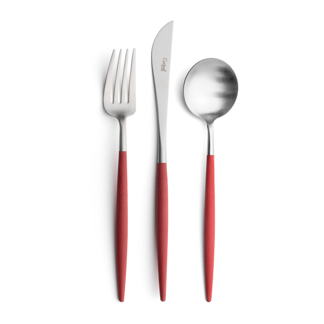 Cutipol Cutlery Goa red with dinner fork, dinner knife, table spoon
