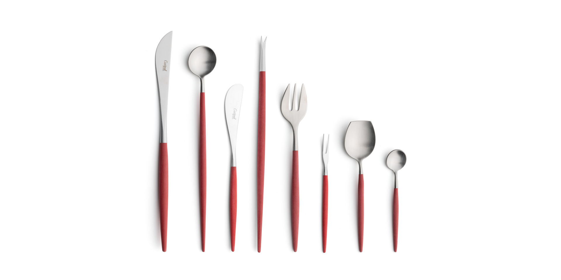 Cutipol Cutlery Goa red with steak knife, long drink spoon, butter knife, lobster fork, oyster fork, Japanese fork, snail fork, sugar spoon and moka spoon