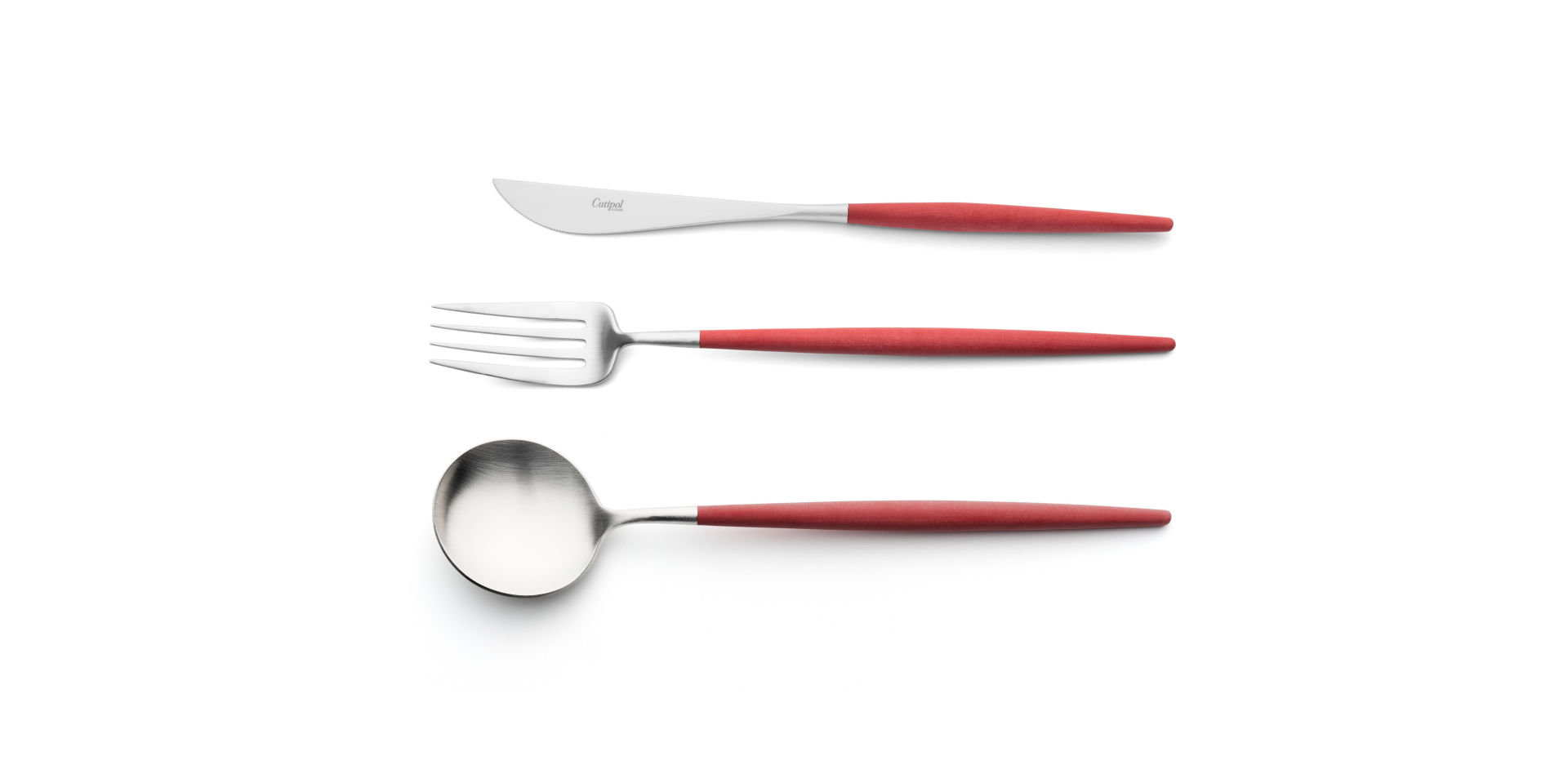 Serving spoon, serving fork and serving knife Cutipol Goa red