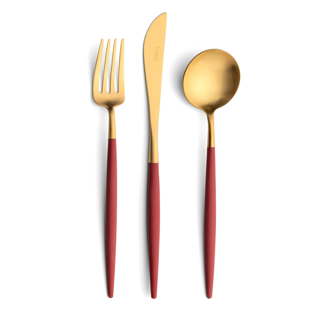 Cutipol Cutlery Goa red gold with dinner fork, dinner knife, table spoon