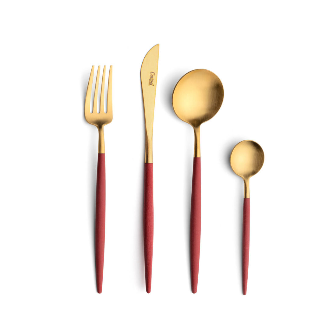 Cutipol Cutlery Goa red gold with dessert fork, dessert knife, dessert spoon and tea-coffee spoon