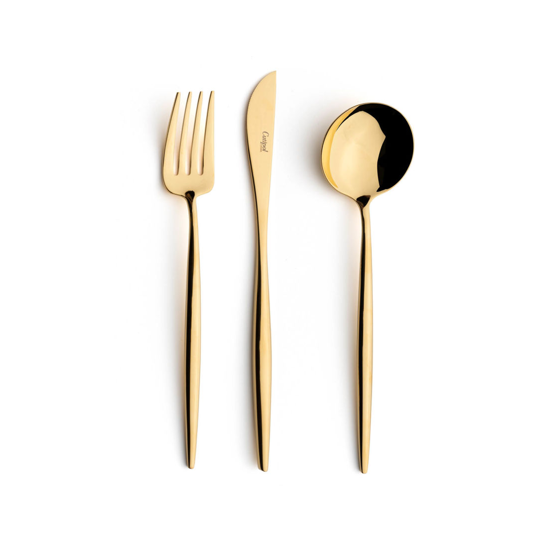 Cutipol Cutlery Moon Gold with dinner fork, dinner knife, table spoon