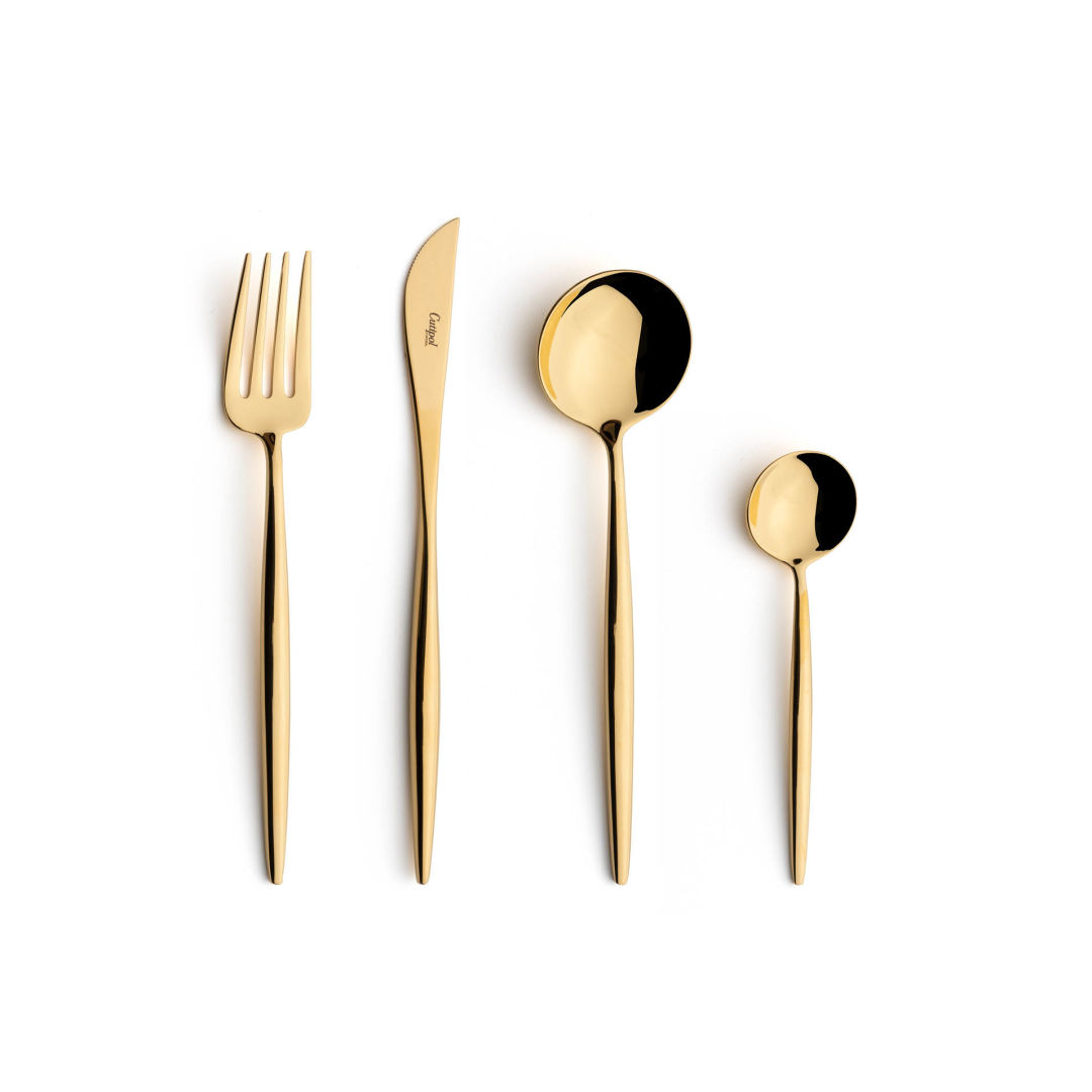Cutipol Cutlery Moon Gold with dessert fork, dessert knife, dessert spoon and tea-coffee spoon