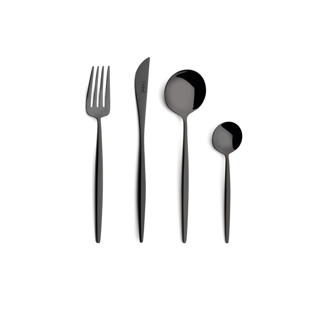 Cutipol Cutlery Moon Black with dessert fork, dessert knife, dessert spoon and tea-coffee spoon