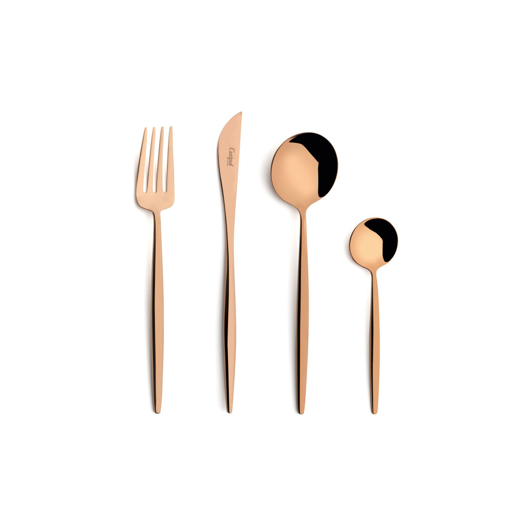 Cutipol Cutlery Moon Copper with dessert fork, dessert knife, dessert spoon and tea-coffee spoon