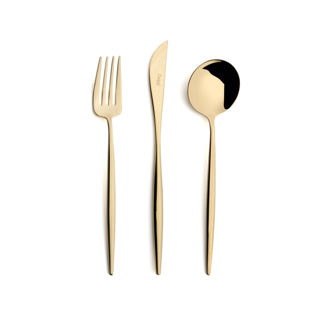 Cutipol Cutlery Moon Champagne with dinner fork, dinner knife, table spoon
