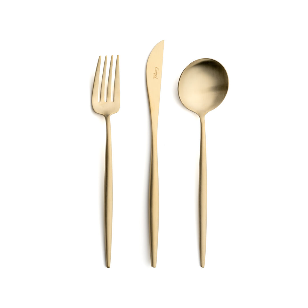 Cutipol Cutlery Moon Matte Champagne with dinner fork, dinner knife, table spoon