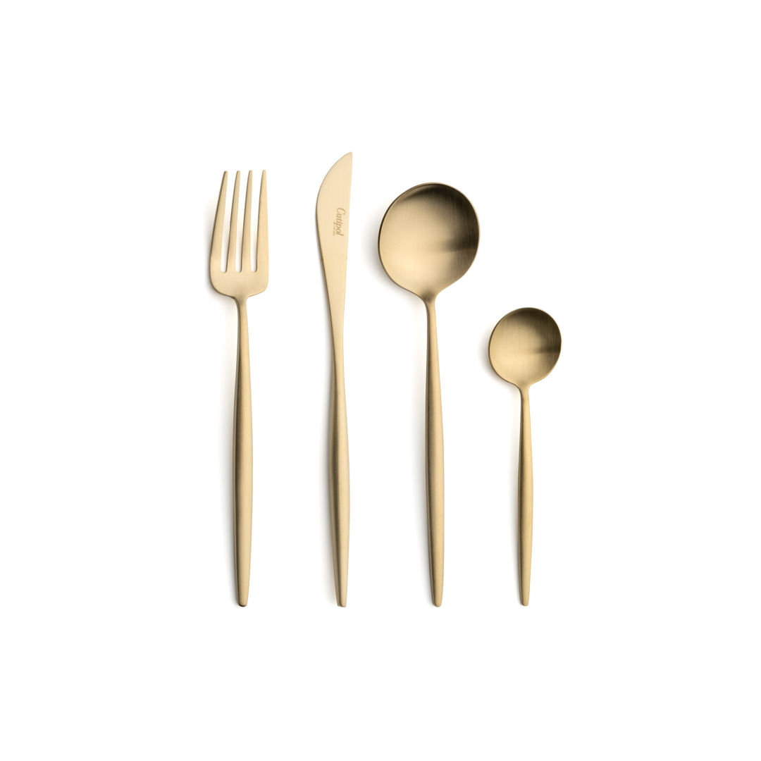 Cutipol Cutlery Moon Matte Champagne with dessert fork, dessert knife, dessert spoon and tea-coffee spoon